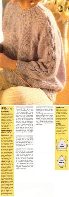 A tiny but transforming detail: the tiny cables in substitution for ribbing. Also, the braid cable on the raglan sleeves is stocking stitch on stocking stitch, not offset by purls. ~~ Le sweat en mohair – La Boutique du Tricot et des Loisirs Créatifs Rib Stitch Knitting, Knitting Stitches, Knitting Patterns Free, Hat Patterns, Knitting For Kids, Easy Knitting, Knitting For Beginners, Crochet Flower Hat, Crochet Headband Pattern