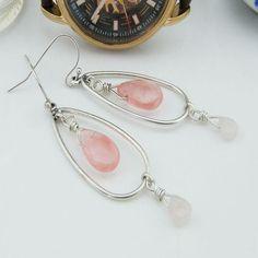 Rose Quartz Crystal Drop Earrings Crystal Earrings Rose Quartz Stone... (€17) ❤ liked on Polyvore featuring jewelry, earrings, evening earrings, crystal earrings, drop earrings, stone jewelry and rose quartz earrings