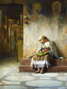The Athenaeum - Young girl sleeping in a church - Theodoros Ralli (Greek, 1852 - European Paintings, Classic Paintings, Greece Painting, Jean Leon, Name Paintings, Girl Sleeping, Greek Art, 10 Picture, Portraits