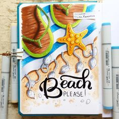 "theme of my drawing challenge - seas and beaches"" Marker Kunst, Copic Marker Art, Copic Art, Sketch Markers, Copic Drawings, My Drawings, Summer Drawings, Dragon Drawings, Bullet Journal Themes"