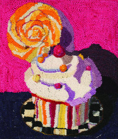 So sweet-looking I could eat it up! Cupcake and Lolly, designed and hooked by Victoria Rudolph