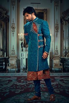 Traditional as well as debonair, this Sherwani will draw many eyes