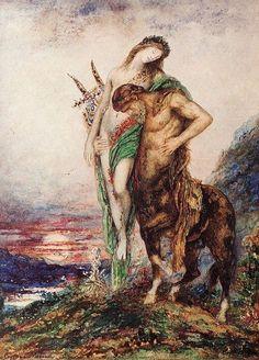 Gustave Moreau, Il poeta morto sostenuto da un centauro, 1890