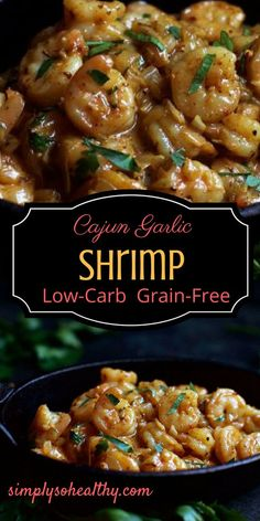 This Cajun Garlic Shrimp recipe combines a creamy garlic sauce and Cajun spices. This easy low-carb dinner tastes delicious, but is simple to make and can prepared in less than 20 minutes. This recipe works for low-carb, gluten-free, grain-free, Banting, Atkins and ketogenic diets.