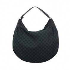 90c3dfb71f5b4c Gucci Hobo Bag -- Black Green Canvas w/ Leather Trimmed Logo Accents -- Wow!