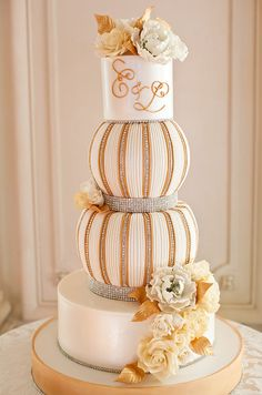 Peach sparkle wedding cake by Confectionery Designs