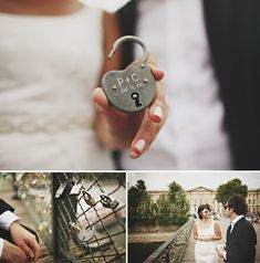 """Honeymoon to Paris just for this: """"Pont des Arts bridge, it is tradition that couples will come and put a lock with their names on it and then toss the key overboard – symbolizing their everlasting love."""" I've seen this bridge. Perfect Wedding, Our Wedding, Dream Wedding, Paris Elopement, Elopement Wedding, Paris Couple, Romantic Paris, Romance, Everlasting Love"""
