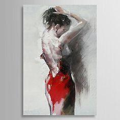 la gente la pintura al óleo pintada a mano bailarina sexy con el marco estirado - USD $ 71.99