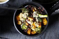 Miso sweet potato and broccoli bowl  http://smittenkitchen.com/blog/2013/10/miso-sweet-potato-and-broccoli-bowl/
