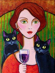 """Woman, Black Cats and Wine"" par Lisa Nelson"