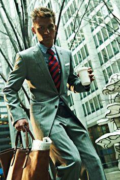 Grey Suit, and Denim Shirt