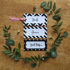 Chevrons, candy stripes and polka dots for these wedding place card tags. In black and white with dusky pink satin ribbon. Striped Wedding, Candy Stripes, Wedding Place Cards, Pink Satin, Card Tags, Stripes Design, Sticker Design, Wedding Stationery, Bride Groom