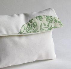 Linen Envelope Clutch - hand appliqued cotton