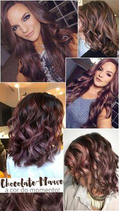 Chocolate Mauve Hair: a Cor do Momento! Brown Blonde Hair, Brunette Hair, Chocolate Mauve Hair, Hair Color And Cut, Malva, Great Hair, Hair Today, Hair Dos, Gorgeous Hair