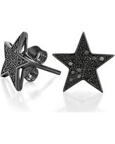 Bling Jewelry Patriotic Black Star CZ Stud Mens Earrings Micropave 925 Sterling Silver