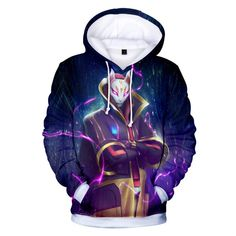 9a42b537ef229 New Fortnite fortress night shadow assassin digital print Hooded Sweater