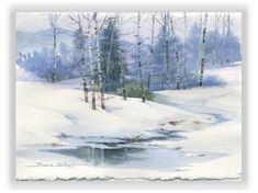 Susie Short's winter landscape watercolor greeting cards and note cards are all quality reproductions of her original watercolor paintings designed for Christmas and Holidays. Watercolor Trees, Watercolor Cards, Watercolor Landscape, Landscape Paintings, Watercolor Paintings, Watercolors, Winter Painting, Winter Art, Art Aquarelle