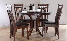 Dark Wood Dining Room Sets With Somerset Round Dark Wood Dining Table And 4 Java Chairs Set Cheap Dining Tables, Cheap Dining Room Sets, Dark Wood Dining Table, Round Dining Table Sets, Wooden Table And Chairs, Dining Table Design, Dining Table Chairs, Wood Table, Room Chairs