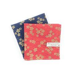Japanese style gold foil flower print cotton handkerchief, gold flower pattern pocket square, cherry-blossom flower print pocket square,