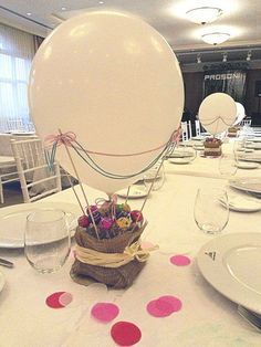 this would be a cute idea for a baby shower/gender reveal party! Have the guests count, and all poke the balloons and have colored confetti fly out. Fiesta Party, Baby Party, Balloon Decorations, Table Decorations, Baby Boy Shower, Party Planning, Party Time, Birthday Parties, Centerpieces