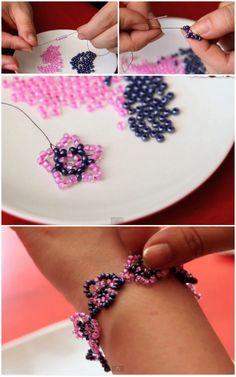 Easy DIY seed bead flower bracelet