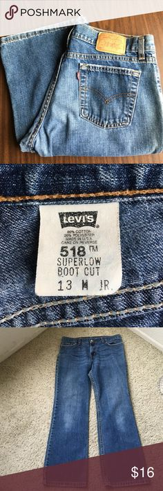 Levi's 518 superlow  women's stretch jeans size 13 Levi's superlow 518 woman's jeans size 13 M juniors measurements waist 34 inches inseam 30 inches cops 18 inches gently owned some minor wear on cuffs and pockets inv # j1233 Levi's Jeans Boot Cut