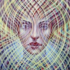 'Through the Looking Glass' -detail... Acrylic, casein & oil on canvas 2011-12 (c) Amanda Sage #visionaryart #painting #amandasage