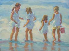 Beach scene family two girls one boy colourful by LucelleRaad