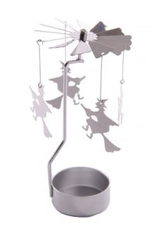 Witch Tea Light Powered Metal Spinning Decoration | Attitude Clothing