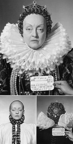 """Bette Davis Wig and Makeup tests for the character of """"Queen Elizabeth I"""" for """"The Private Lives of Elizabeth and Essex"""", 1955"""