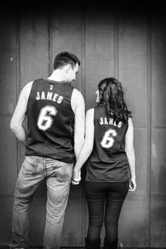 Basketball save the date engagement photography shot in Walla Walla by Gigi Hickman  www.gigihickman.com Sports Engagement Photos, Themed Engagement Photos, Nike Sweatpants, Nike Sweatshirts, Couple Photography, Engagement Photography, Basketball Couples, Nike Inspiration, Air Max Classic