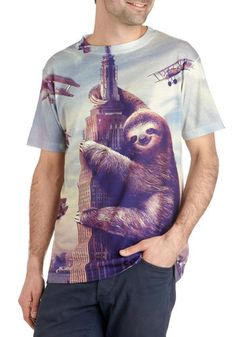 ModSloth Tee - Grey, Purple, Casual, Short Sleeves, Crew, Print with Animals, Novelty Print, Quirky