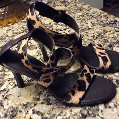 "Arturo Chiang heels.  Never worn Beautiful leopard skin open toed, wrap around ankle heels.   3"" heels. Arturo Chiang Shoes Heels"