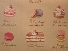 Japanese Cotton Print Fabric - Yuwa, Half Yard - Kawaii Macaron Sweets & Cakes