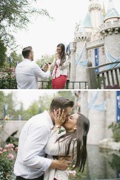 She felt like a princess when he got on one knee in front of Sleeping Beauty's Castle in Disneyland!