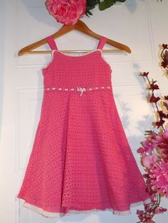 """Girls,""""The PLACE"""", Pink w/White Trim, knitted look sleeveless dress. Sz 6X/7  #TheChildrensPlace #Everyday #kids clothes Starting price $7.50"""