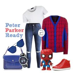 Peter Parker Ready by curvygeekyfangirl on Polyvore featuring polyvore ALDO Funko Samsung fashion style clothing