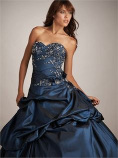 Strapless Ball Gown Sweetheart Embroidery Layered Navy Floor-length Prom Dress PD0597 www.simpledresses.co.uk £126.0000