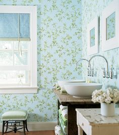 Happy Frogs Wallpaper In Green Blue From The Sweet Life Collection By Thibaut
