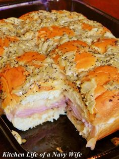 'Hawaiian Baked Ham and Swiss Sandwiches' Source: King's Hawaiian  Ingredients  1 12 pack of King's Hawaiian Original Rolls 1 lb. deli ham, shaved 1 lb. Swiss cheese, thinly sliced 1 1/2 sticks butter 3 tablespoons Dijon mustard 1 1/2 teaspoons Worcestershire sauce 3 teaspoons of poppy seeds  1 onion, chopped