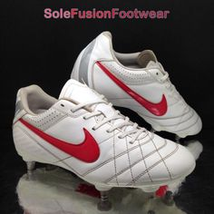 meet beb4a 5defb Nike mens Tiempo IV Football Boots White Red size 7 SG Rugby Soccer Cleats  EU 41   eBay