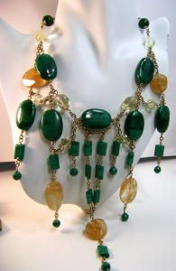 Accent your look when you wear this stylish malachite and Quartz bead necklace.  Necklace expertly handcrafted with 14k gold-filled chain and smoothly polished natural malachite beads  alternated with Lemon quartz and Rutilated Quartz.  Simple 14k lobester clasp for easy and secure closure Beaded Jewelry, Beaded Necklace, Malachite Jewelry, Lemon Quartz, Rutilated Quartz, Jewelry Making, Closure, Drop Earrings, Gemstones