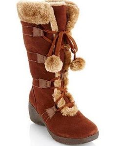Sporto Waterproof Suede Lace Up Tall Boot Faux Fur Trim W Thermolite