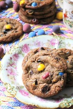 These malted dark chocolate Cadbury egg cookies are speckled with candy coating resulting in both a chewy and crispy texture that you won't be able to resist. No Egg Cookies, Easter Cookies, Holiday Cookies, Cadbury Eggs, Malted Milk, Candy, Cookie Exchange, Chocolate, Sweet Bread