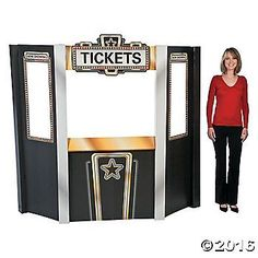 Movie Night Theater Ticket Booth Cardboard Stand-Up | Oriental Trading Movie Theater Party, Cinema Party, Movie Night Party, Movie Nights, Cinema Architecture, Local Movies, Sweet 16 Themes, Theater Tickets, About Time Movie