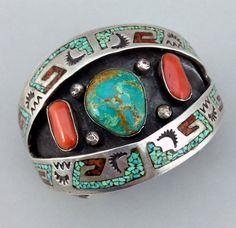 Vintage Cuff | Tommy Singer (Navajo). Silver with Turquoise, Coral. ca. 1960s/70s || Source ~ http://www.ebay.com/itm/Vintage-Navajo-TOMMY-SINGER-Turquoise-Coral-CHIP-INLAY-Sterling-Silver-Bracelet/261393271161