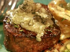 Grilled Filet with Blue Cheese Butter Recipe : Bobby Flay : Food Network Bobby Flay Recipes, Steak Recipes, Grilling Recipes, Cooking Recipes, Carne Asada, Blue Cheese Butter, Steak With Blue Cheese, Recipes With Blue Cheese, Butter Recipe