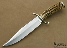 Jim Lofgreen Custom Knife Sole Authorship Hand Forged S-Guard Stag Bowie - Jim Lofgreen custom knife - image 1