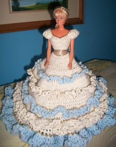 Another rescued Barbie in crocheted dress...