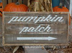 Pumpkin Patch Autumn Halloween Rustic Pallet Sign by WordsForTheSoul